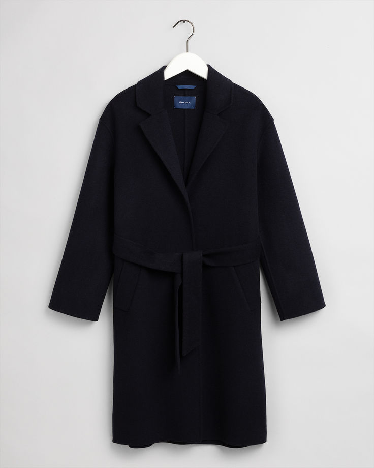 Wool Blend Belted -takki evening blue